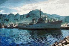 Stock Illustration of warship in harbor
