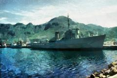 Warship in harbor Stock Illustration