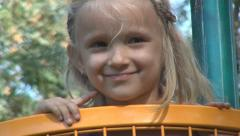 Portrait Smiling Little Girl Playing at Playground, Smile of a Child, Children Stock Footage