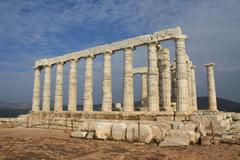 Ruins of Temple of Poseidon near Athens, Greece Stock Photos