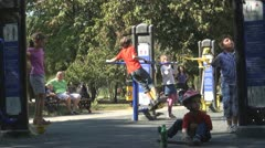 Children Making Fitness Outside in Park, People Doing Exercises, Sport Stock Footage
