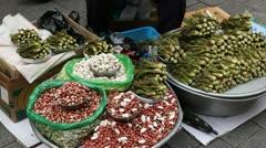 Seoul Vegetable Plants Market Street Food Traditional Asian Korean Namdaemun Stock Footage