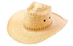 Habdmade straw hat isolated on white background Stock Photos