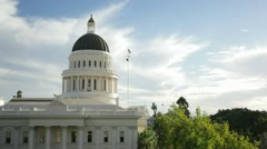Sacramento capitol building from above, pan left Stock Footage