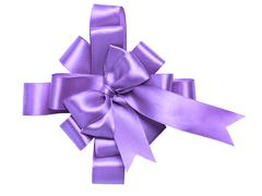 award purple bow made of ribbon - stock photo