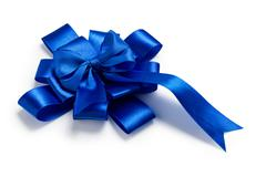 Award blue bow made of ribbon Stock Photos