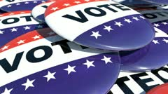 Falling pins with vote text on them - stock footage