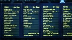 Timetable at railway station Stock Footage