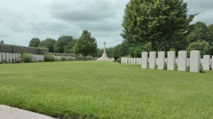 Zoom - Cross of sacrifice, Bedford House cemetery Great War battlefield, Ypres Stock Footage