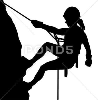 Stock Illustration of abseiling lady