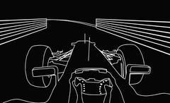 silhouette f1 cockpit view - stock illustration