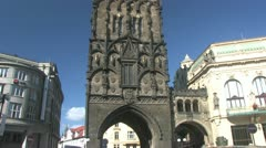 Powder Gate in Prague Stock Footage