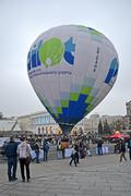 Stock Photo of Kiev aeronautic sport club air balloon in Kiev, Ukraine on October 20, 2012