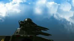 Anti-missile defense system, weapon, rocket, radar. Matte Stock Footage