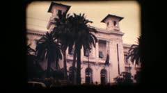 Vintage 8mm. Old casino and palm trees Stock Footage