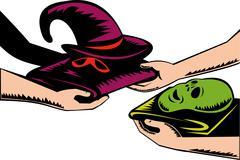 Hands exchanging halloween mask retro. Stock Illustration