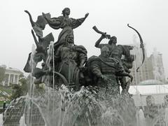 Monument to Four Mythical Founders of Kiev Stock Photos