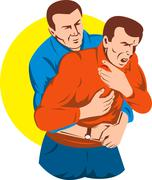 heimlich maneuver on male adult. - stock illustration