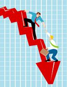 Stock Illustration of officer worker helping plummeting loss.