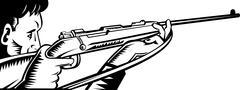 Hunter aiming rifle woodcut. Stock Illustration