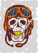 skull face pilot airman. - stock illustration