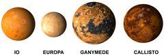 Planet jupiter moon io europa ganimede and callisto Stock Illustration