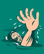 Mies kurkottaa apua hukkuminen. Piirros