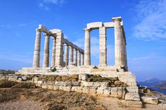 Temple of Poseidon on Cape Sounion near Athens, Greece Stock Photos