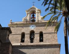 Bell tower of Almeria Cathedral Stock Photos