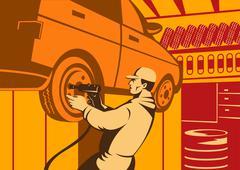 Mechanic automotive repairman retro. Stock Illustration