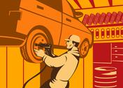 Stock Illustration of mechanic automotive repairman retro.