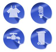 Laundry cf light bulb water faucet rubbish bin icon. Stock Illustration