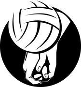 Volleyball player hitting ball. Stock Illustration