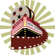 Elokuvateatteri elokuvateatteriin elokuva kela retro. Piirros