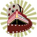 Cinema theater movie house film reel retro. Stock Illustration