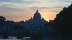 Basilica St.Petre in sunset.Rome.Italy. Stock Footage