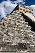 View up Kukulkan Pyramid - stock photo
