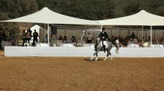 Rider demonstrates Old English riding style on his fine Arabian horse Stock Footage
