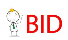 businessman bid - stock illustration