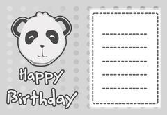 Birthday card with illustration cute panda Stock Illustration