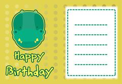 Birthday card with illustration cute crocodile Stock Illustration