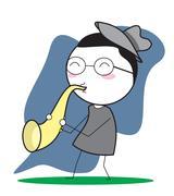 play saxophone - stock illustration