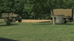WW2 Trucks on Base Stock Footage