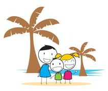 children beach party - stock illustration
