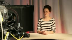 Female teenage presenter in television studio 1 Stock Footage