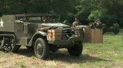 WW2 US Half Track passes close Stock Footage
