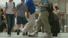 A begger outside St Peters, Rome TWO Stock Footage