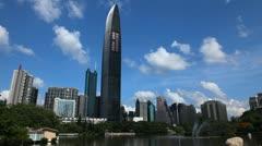 Shenzhen Cityscape, SEZ, China, Lychee Park, Kingkey 100, Shun Hing Square Stock Footage