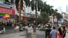 Shenzhen Pedestrian Shopping Street, Store, Palm Trees, time lapse Stock Footage