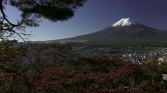 Mount Fuji And Chureito Peace Pagoda Stock Footage